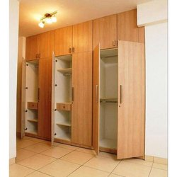 Brown Lockable Wooden Wardrobe, Warranty: 5 Year