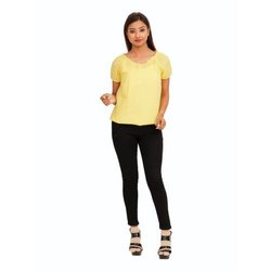 Plain Half Sleeves Yellow Cotton Top