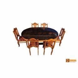 Nila Solid Oval Teak Wood Dining Set
