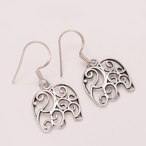 925 Solid Sterling Fine Silver Elephant Earring