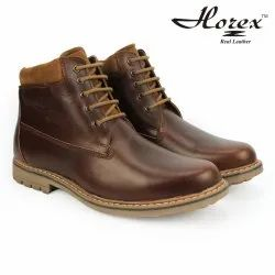 Casual Wear Horex Mens Stylish Brown Boots In Genuine Leather