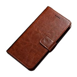 Brown Leather Flip Mobile Cover, Packaging Type: Packet