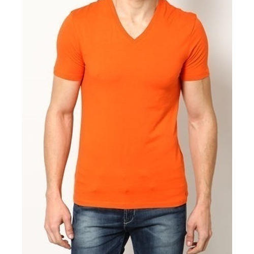Orange V- Neck T- Shirt, Size: S-XL, Rs