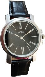 Black Leather Strap Wrist Watch with Black Dial A Designer Analog Wrist Watch For Men