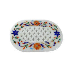 White Marble Soap Dish Jaali Work