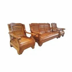 Brown Modular Teak Wood 5 Seater Sofa Set, Living Room