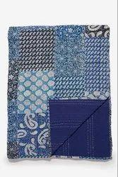 Scraped Printed Kantha Bedspread