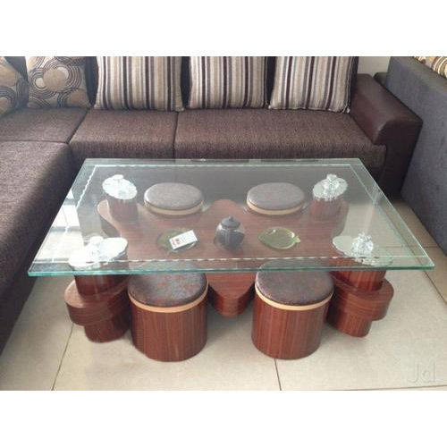 Wooden Glass Centre Table