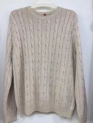 Off White Round Neck Kids Woolen Sweater