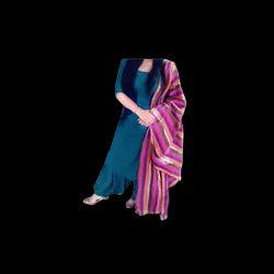 Sea-green Cotton Punjabi Suit With Multicolored Dupatta, 2-1/2