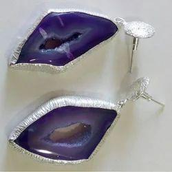 Handmade Druzy Gemstone Exclusive Brass Silver Plated Earrings