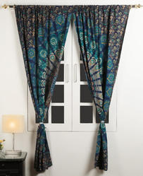 Cotton Mandala Peacock Printed Window Decor Curtain