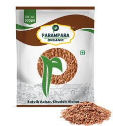 Parampara Organic Hulled Flax Seeds Raw (Alsi), Packaging Type: Pouch, Packaging Size: 500 G