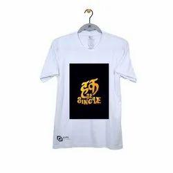 Kipa 100% Polyester Mens Half Sleeve Haq Se Single White Color T Shirt, Size: S-xl