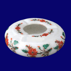 White Marble Red Flower Design Ashtray