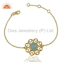Gold Plated Gemstone Chain Bracelet
