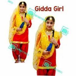 GM Fancy Dress Cotton Punjabi Gidha Dress, Machine wash