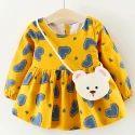 Heart Print Yellow Casual Dress
