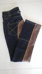 Polyester/Nylon Blue Denim Full Seat Boot Cut Jeans Style Jodhpurs Breeches
