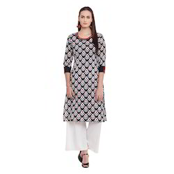 Neck Embroidery Printed Cotton Kurti