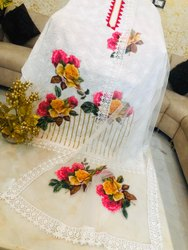 Pakistani Unstitched Pure cotton chikankari suit