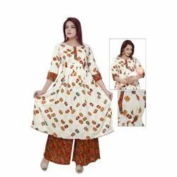 Cotton 3/4th Sleeve Women Feeding Kurti Palazzo Set