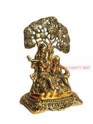 Rajasthan Craft Art Golden (Gold Plated) Metal Radha Krishna Tree Idol