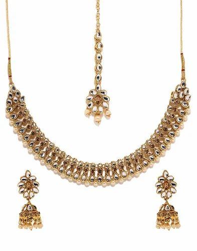 7a3e9ce0be Bindhani Wedding Gold Plated Traditional Kundan Choker Necklace Earrings  Tika