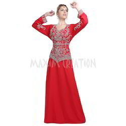 Red Solid Bridal Wear Designer Kaftan Dress