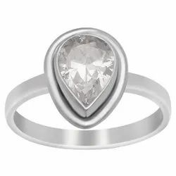 Solitaire 925 Sterling Silver Pear Cut White Topaz Gemstone Handcrafted Ring