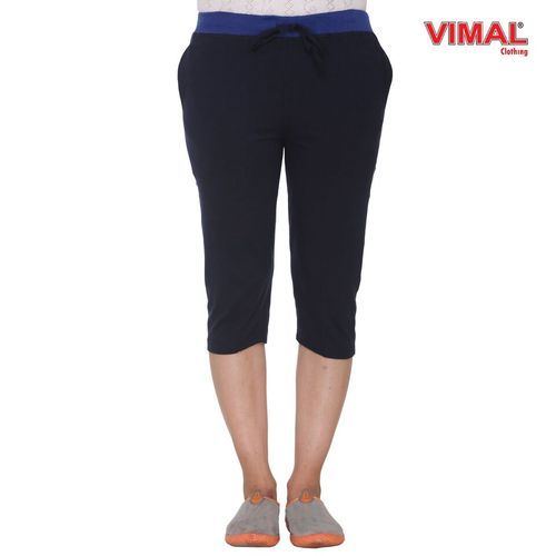 Cotton Plain Navy Blue Ladies Capri, Size: S, M & L