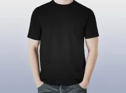 Round Half Sleeve Plain Black T-shirt