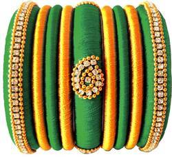 Green & Golden Silk Thread Bangles Set