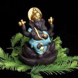 Ganesha On Lotus Petal Smoke Fountain (Green) Ganesha On Lotus Petal Smoke Fountain