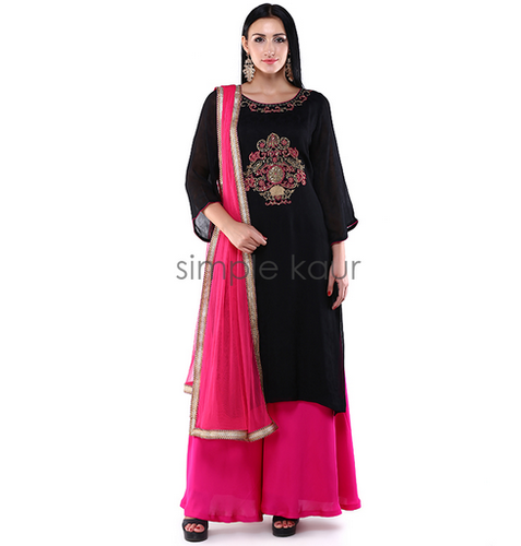 b775b103db Black And Pink S And XL Woman Black Pink Embroidered Palazzo Suit Set