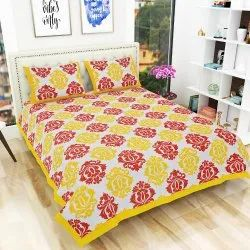 Traditional Jaipuri Print Double Bedsheet with 2 Pillow Covers (100% Cotton)