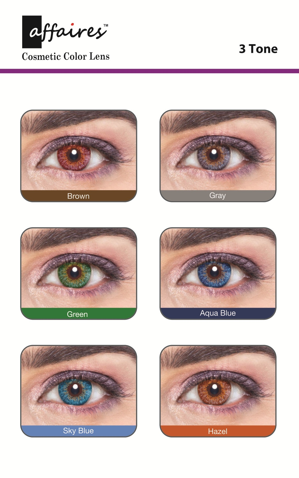 2b8d4d692ec2 Affaires Contact Lenses Yearly Color Lenses ,three Tone, Cosmetic Contact  Lenses, Eye Contact Lenses, Eye Lens, Optical Contact Lens - Isha Optical,  ...