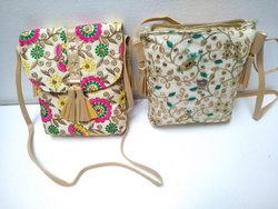 Embroidery Work Rexin Cotton Hand Bag