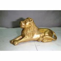 Sitting Brass Lion Statue