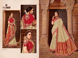 Silk & Jacquard Beige and Gold Women Indian Saree, Length: 6.3 m