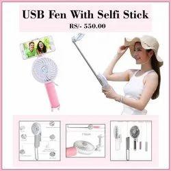 Black USB Fan With Selfi Stick, Mobile