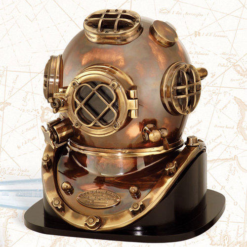 ANTIQUE HEAVY MODEL MARK V SOLID COPPER BRASS DIVING DIVERS HELMET WITH BASE//////