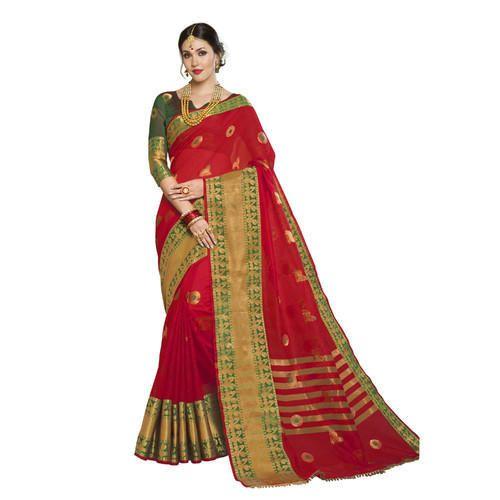 ed9e21adb11 Cotton Silk Red   Green Colored Designer Festive Wear Saree with Blouse  Piece