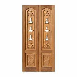 Light Brown Wooden Pooja Room Doors