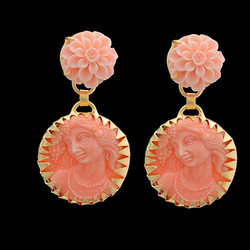 Face Craved Gold Plated Designer Studs Earring Women's Jewelry