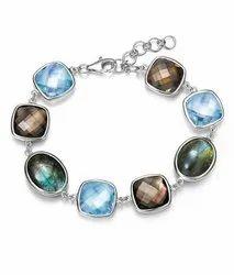 Latest Designer Hot Selling Gemstone Bracelet Multi Gemstone 925 Sterling Silver Jewelry