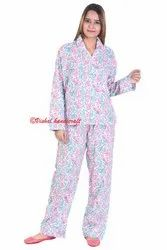 Cotton Hand Block Print Ladies Pajama Set