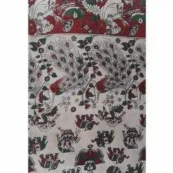 Silk Cotton Casual Wear Kalamkari Peacock Printed Saree, 6 m (with blouse piece)