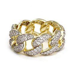14K Gold Hip Hop Style Cuba Link Men's Diamond Ring