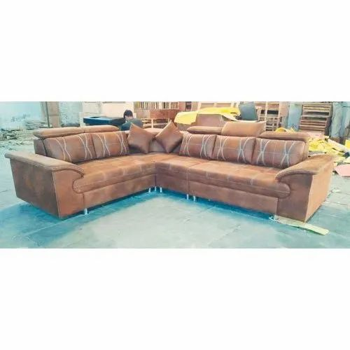 Brown L Shape Leather Corner Sofa Set